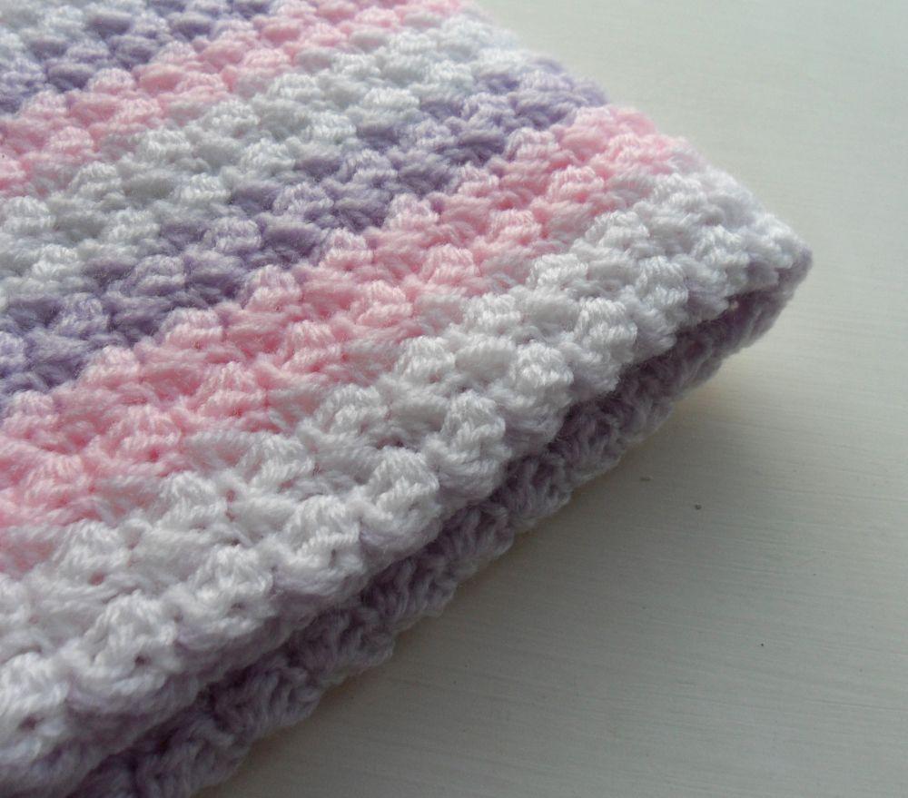 Crochet Baby Blanket Baby Pink Purple White baby | Crochet Ideas ...