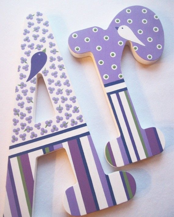AVERY Hand Painted Decorative Wooden Wall Letters by PoshDots