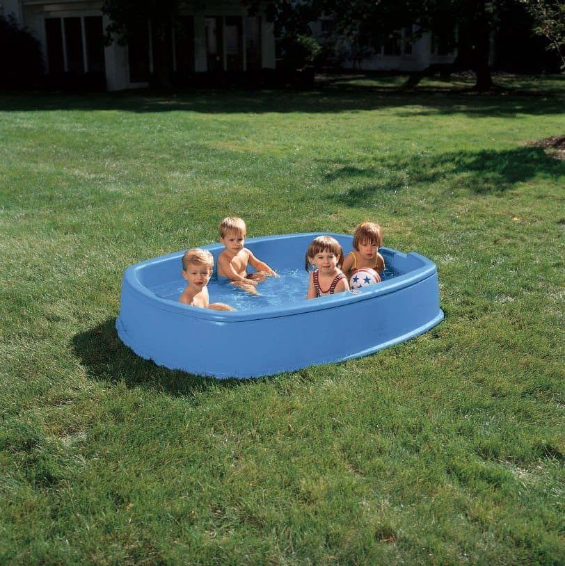 Simple Blue Hard Plastic Walmart Outdoor Kiddie Pool Design Wide
