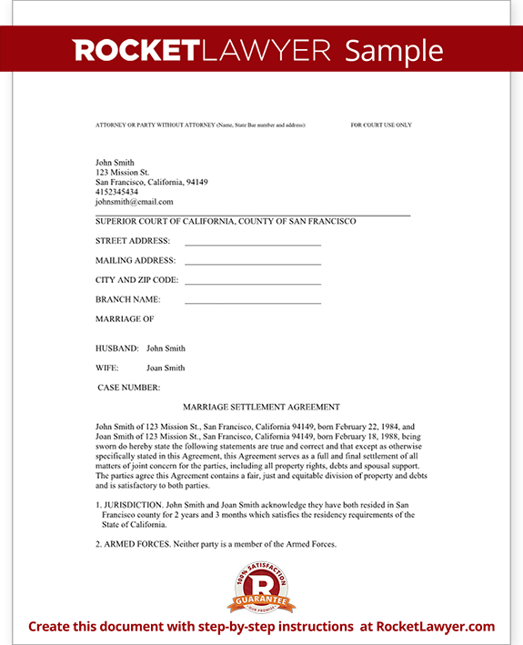 Divorce Settlement Agreement Template With Sample  Diy