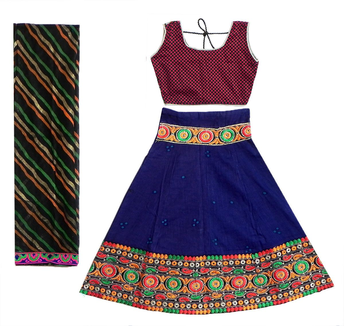 Cotton Blue Ghagra, Red with Black Choli and Chunni (Cotton Cloth)