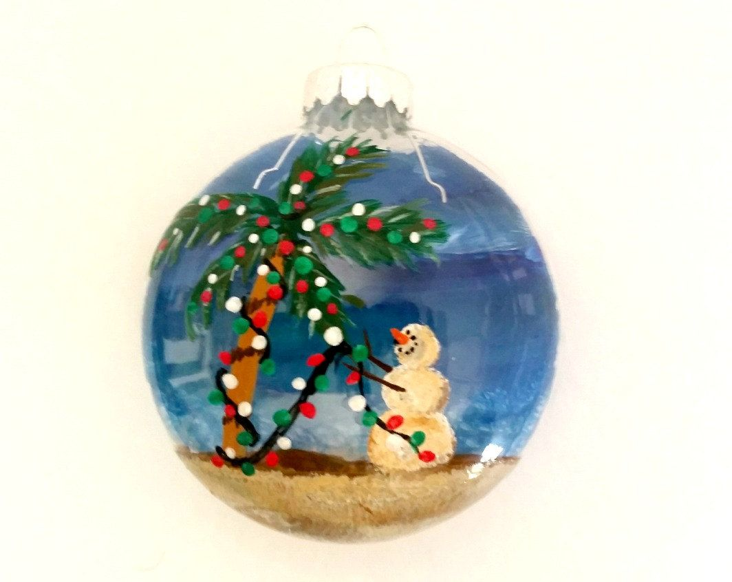 Beach Christmas Ornament Hand Painted Glass Christmas Ornament Beach Ornament Pal Beach Christmas Ornaments Hand Painted Ornaments Glass Christmas Ornaments