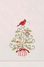 """Holiday Garden Red Cardinal Christmas Guest Towel 14"""" x 22"""""""