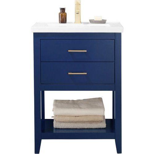 Design Element 24 Inch Cara Single Sink Bathroom Vanity Blue S02
