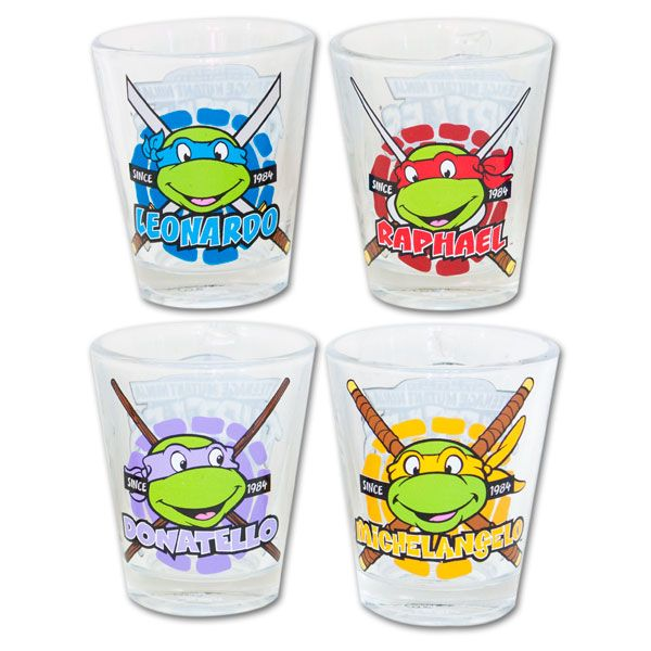 teenage mutant ninja turtles names shot glasses now i can tell my kid which one is which lol thanks for the colour coding store