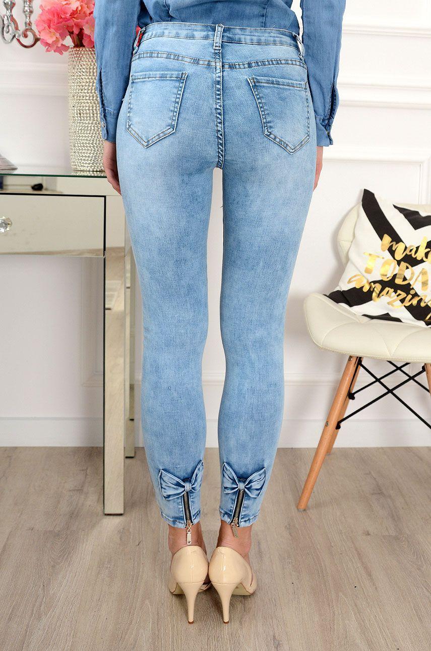 Spodnie Jeansowe Z Zamkami I Kokardkami Blekitne Mom Jeans Skinny Jeans Fashion
