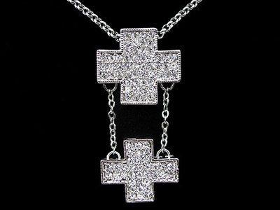 Kristall Doppelkreuz mit Kette