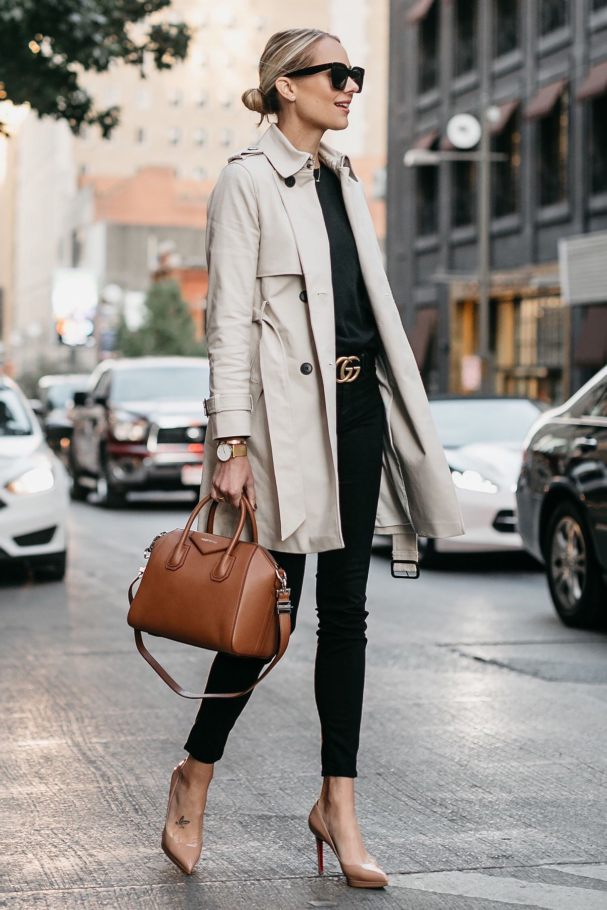 b7ed0f7efdb Blonde Woman Wearing Club Monaco Trench Coat Black Sweater Black Skinny  Jeans Gucci Marmont Belt Nude Pumps Givenchy Antigona Cognac Satchel Fashion  Jackson ...