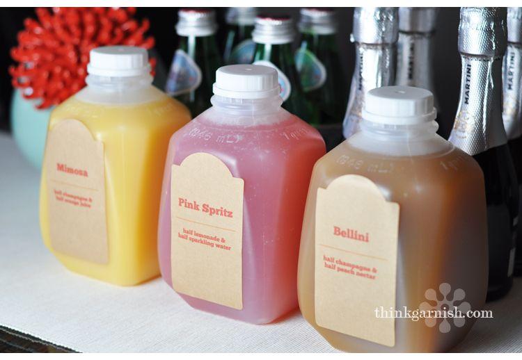 cocktails in cute little jugs