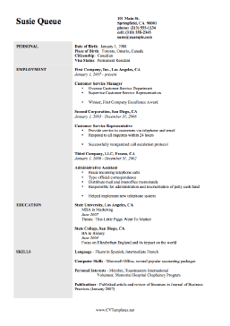 the employment cv template is a great example of a basic chronological resume on a4 template