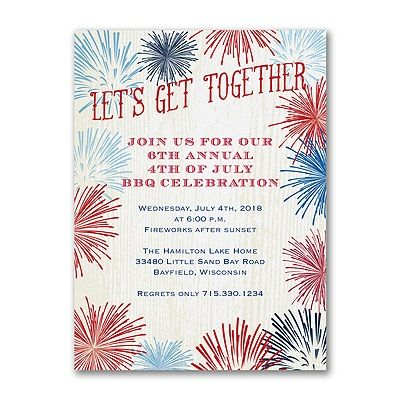 Get together for a 4th of July celebration with this fireworks - invitation for a get together
