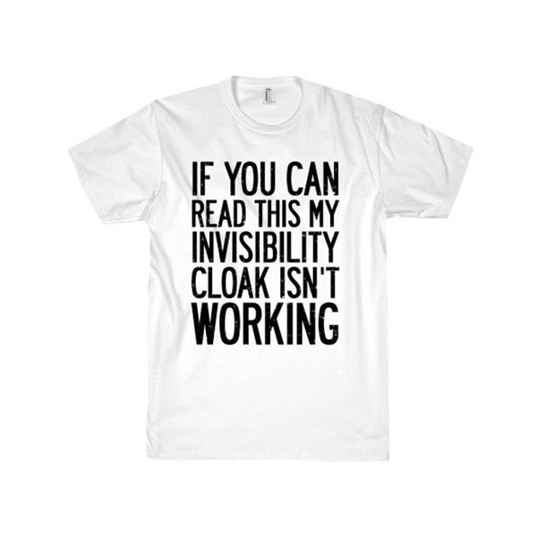 INVISIBILITY CLOAK TEE (€20) ❤ liked on Polyvore featuring tops, t-shirts, unisex tops, cotton tee, cotton t shirt and unisex t shirts