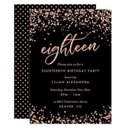 Classy 18th Birthday Invitation Rose Gold Confetti Gold confetti - fresh invitation birthday simple