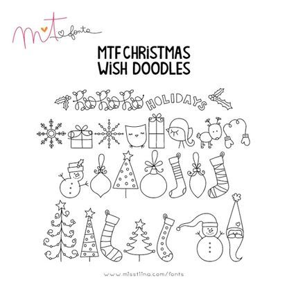 すぐマネできる かわいいボールペンイラスト集 Naver まとめ Christmas Doodles Doodles Lettering Tutorial