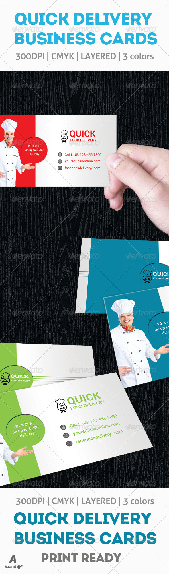 Food Delivery Business Cards #GraphicRiver | ad ideas | Pinterest ...