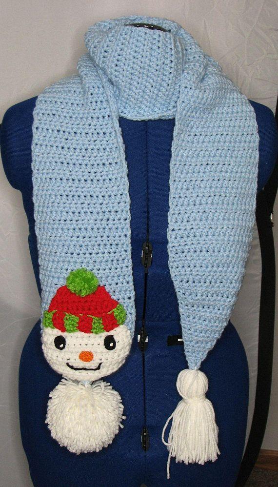 Pom Pom Snowman Scarf Crochet Pattern With Tutorials Digital