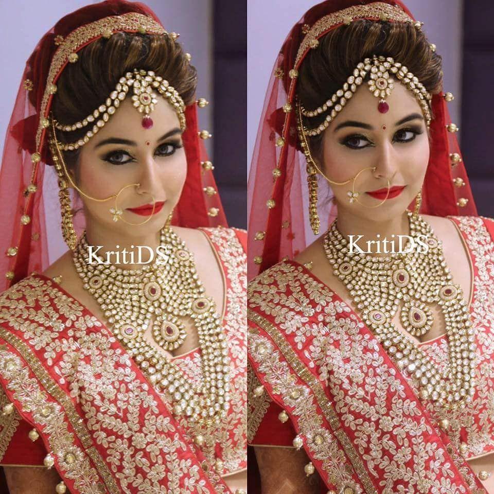 Pin By Pooja Rawat On Brides Indian Bride Makeup Indian Bridal Hairstyles Indian Wedding Bride