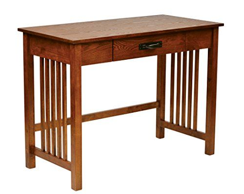 Office Star Sierra Solid Wood Writing Desk with Drawer, Ash Finish