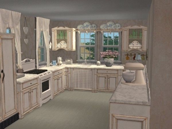 Shabby chic kitchen virtual room design home d cor using for Kitchen designs sims 3