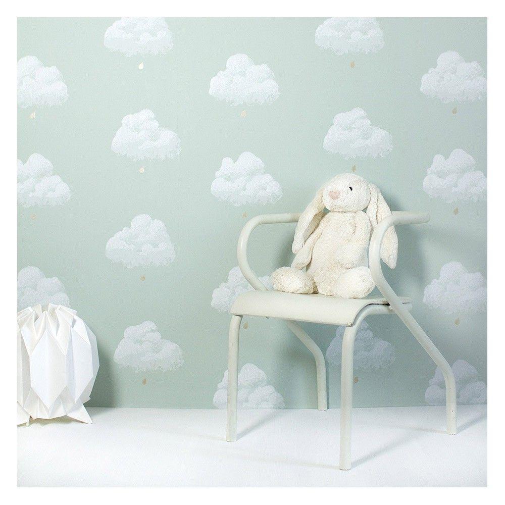 papier peint nuage http fr smallable com affiche et poster 14043 papier peint nuages de coton vert d eau html