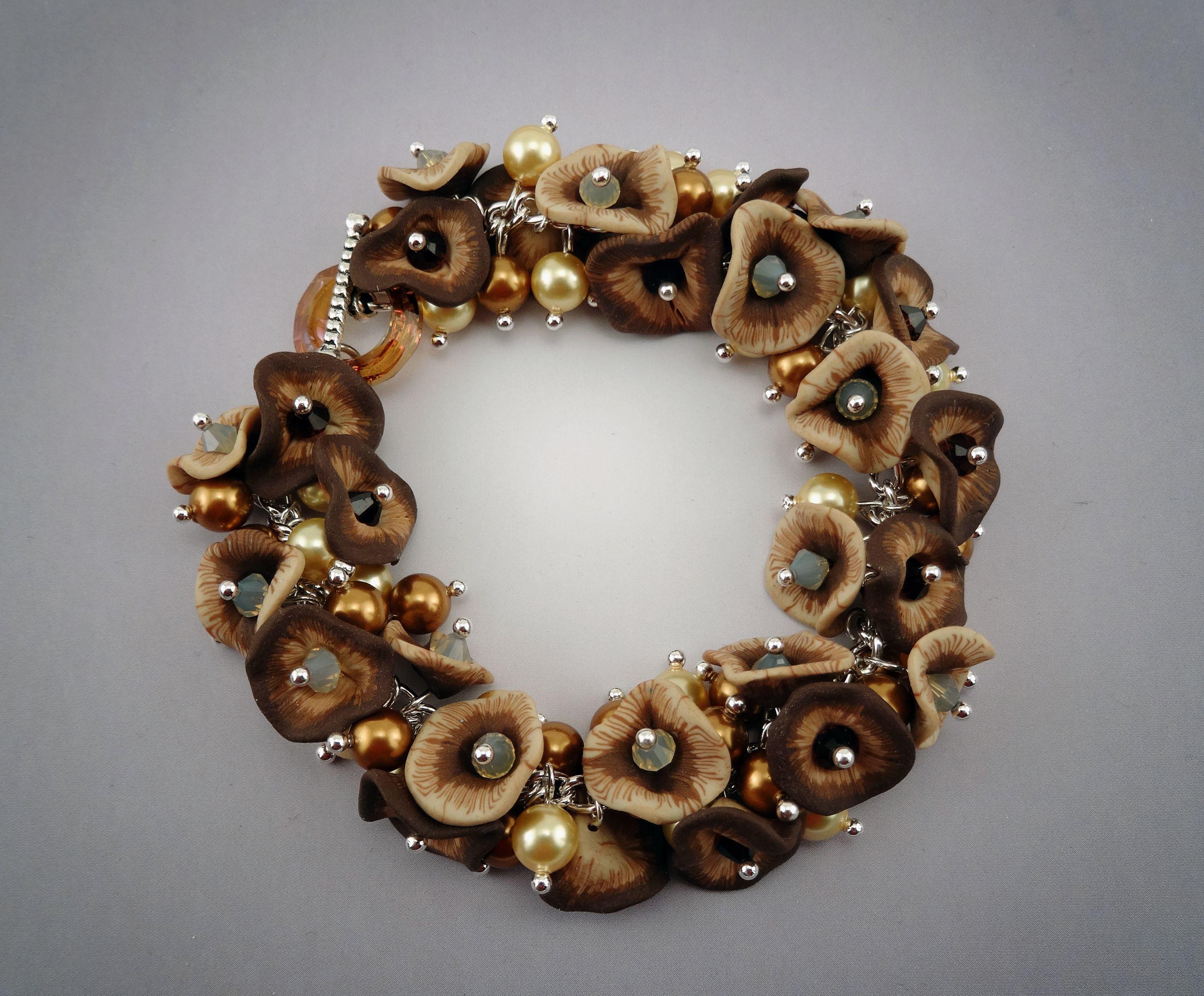 Polymer Clay Crystal Blossom Bracelet (by Lisa Pavelka)
