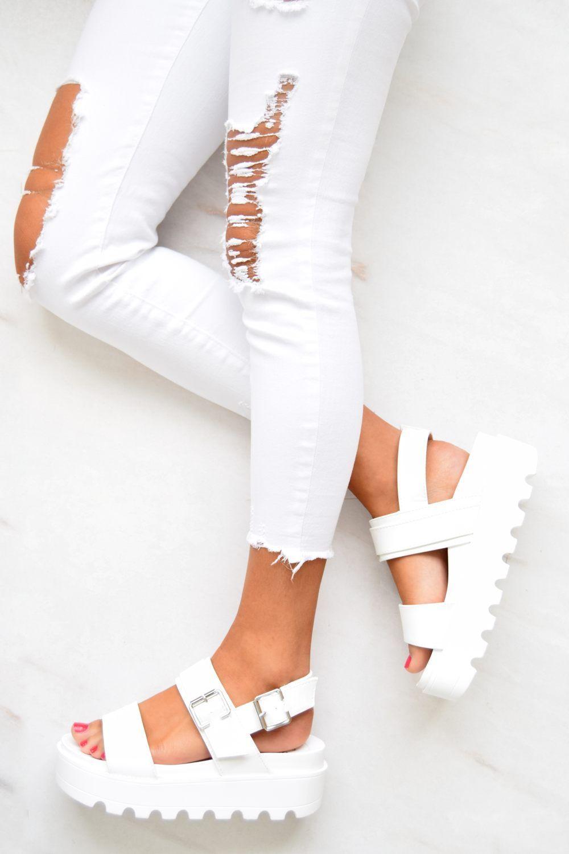 85ff5fccca GABRIELLA Chunky Cleated Platform Buckle Sandals - White in 2019 ...