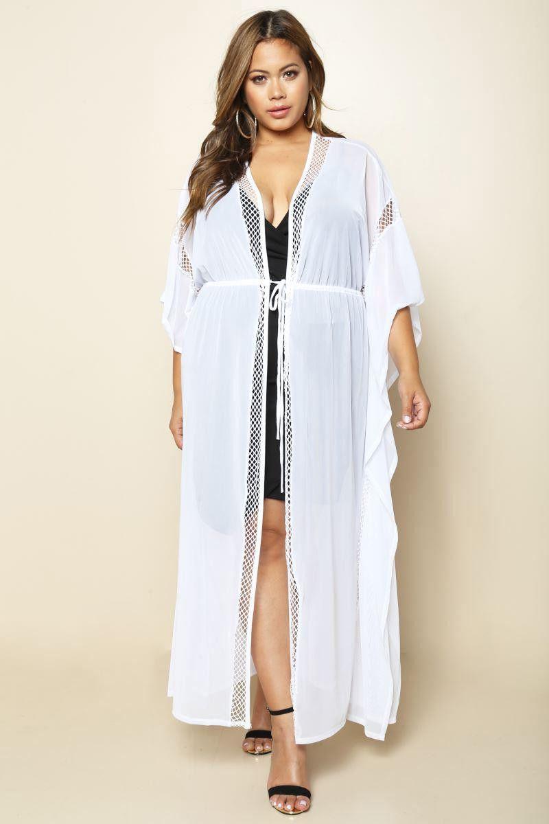 77c0d508f89 White Sheer Lace Trim Cardigan Lace Border