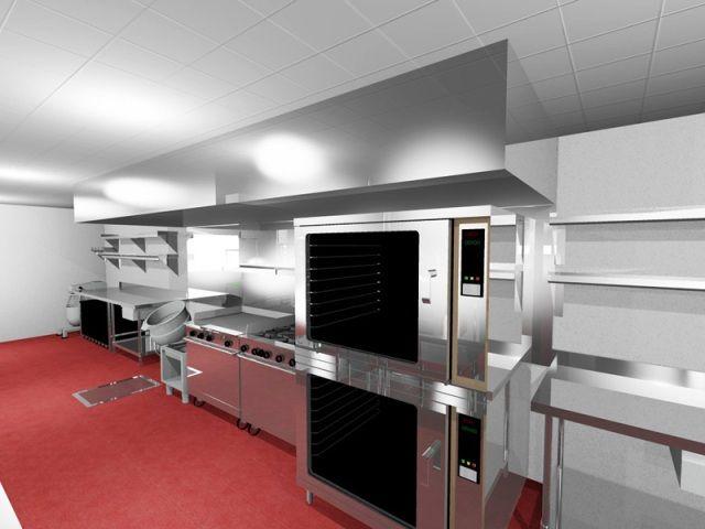 luxury restaurant kitchen with red carpet floor interior - Carpet Kitchen Decoration