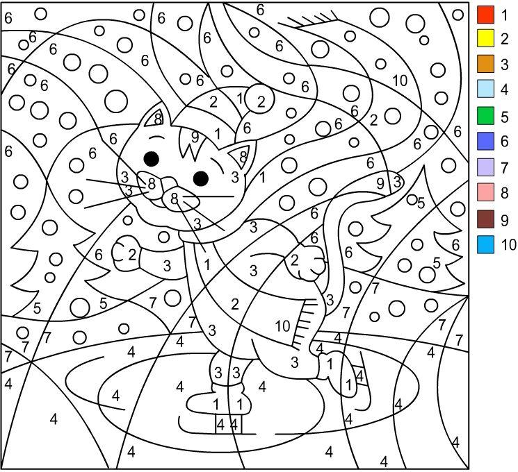 Gatito | Color by numbers | Pinterest | Colores, Colorear por ...