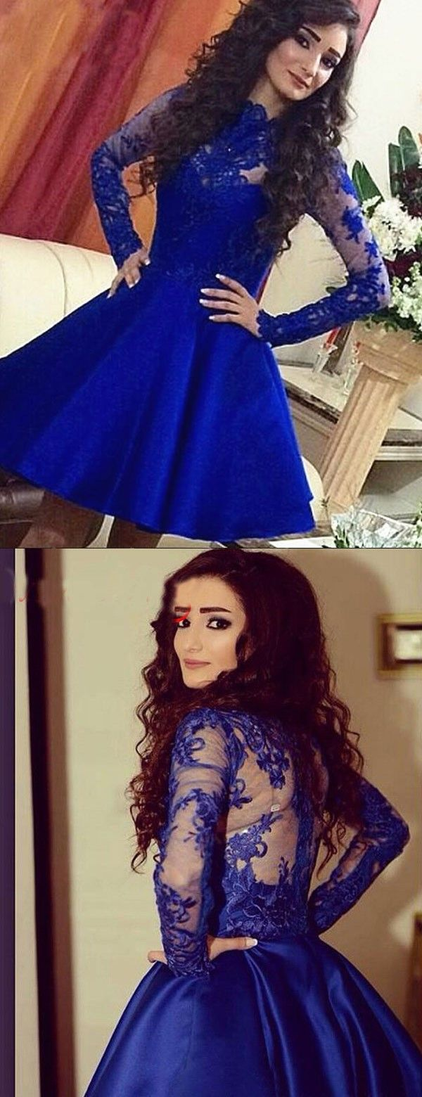 Royal blue homecoming dress with long sleeves royal blue short prom