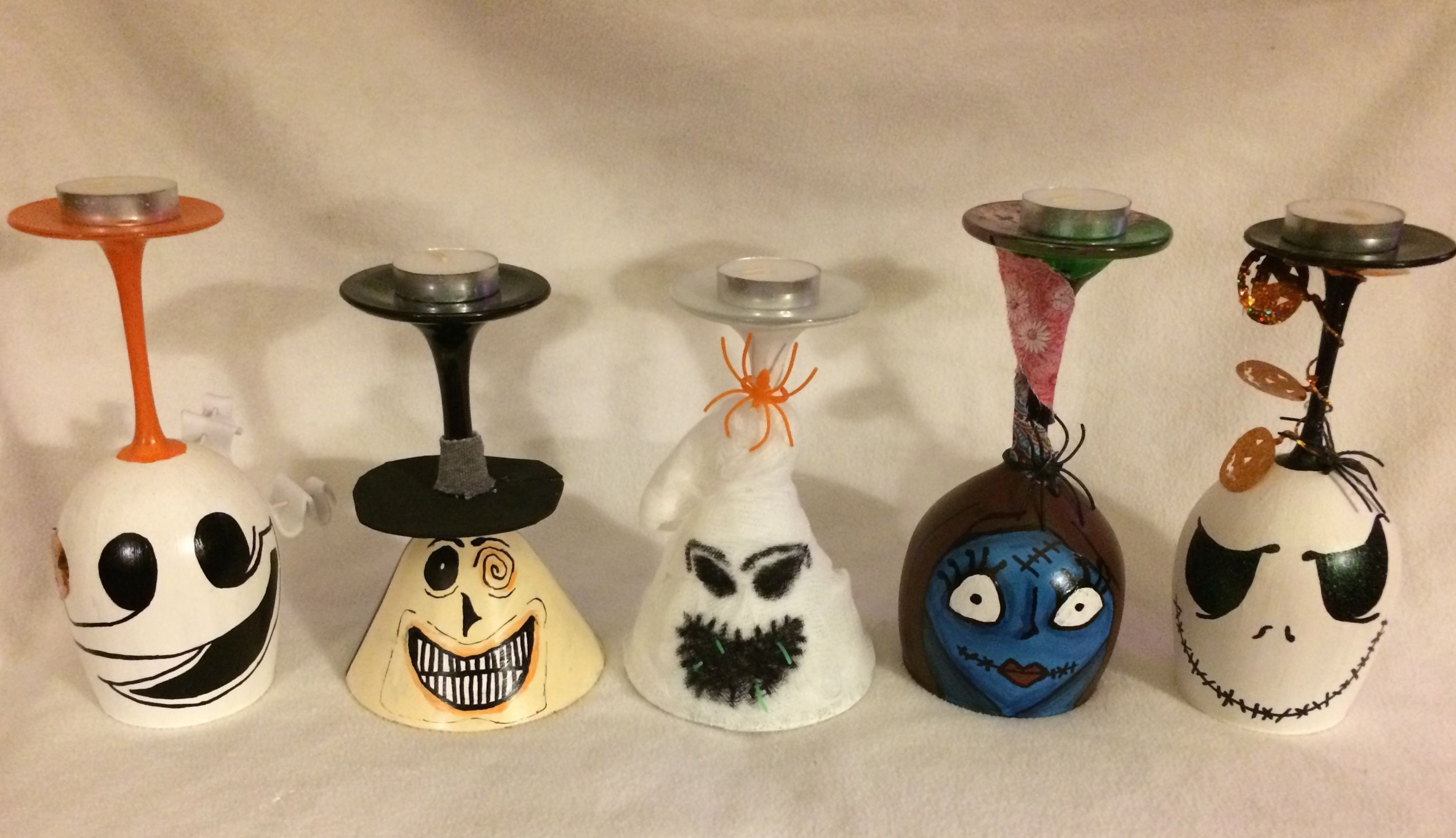 Nightmare Before Christmas Wine Glass Candle Holder Set