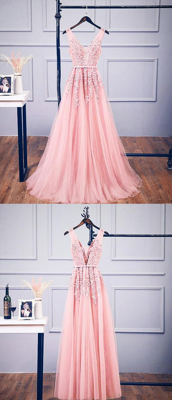 Modest A Line V Neck Backless Beaded Long Pink Lace Tulle Prom Dress
