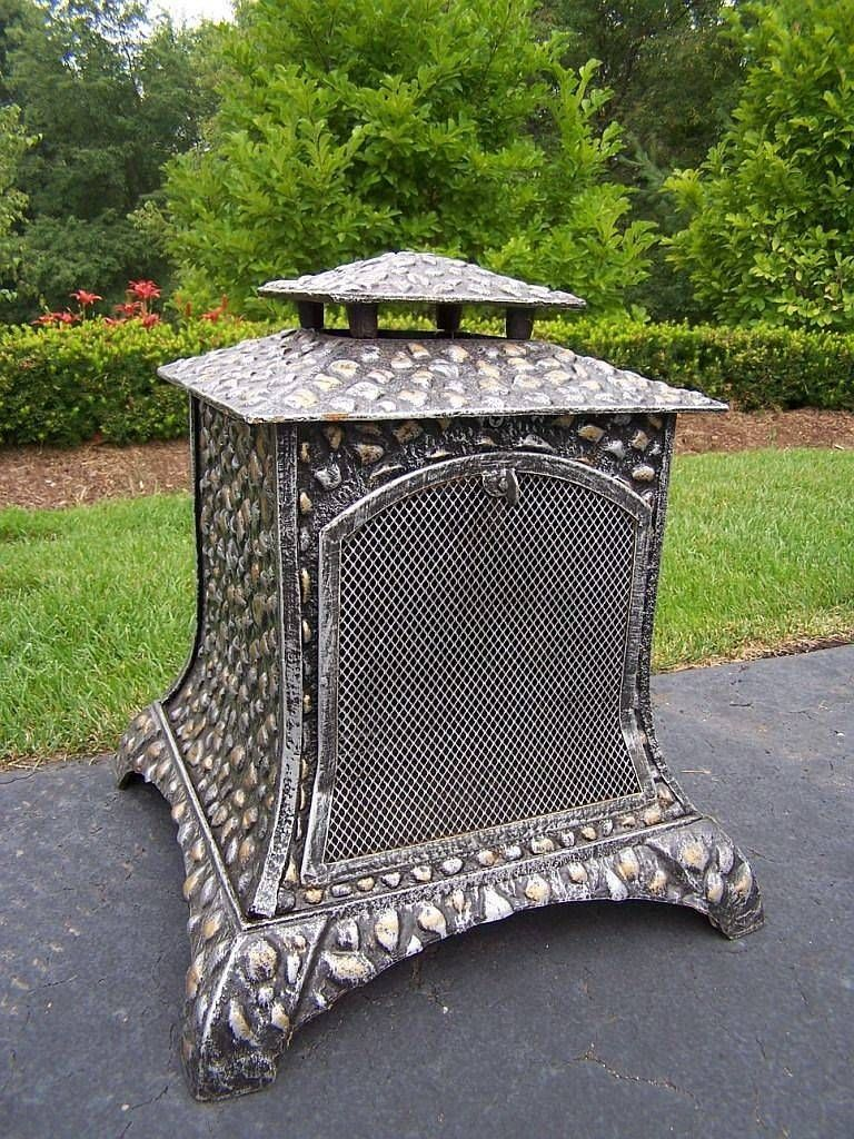Rock Chiminea Outdoor Fireplace Garden Art Accesories