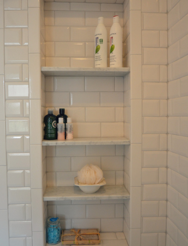 Tall Large Wide Shower Niches Subway Tile And Marble Ledges