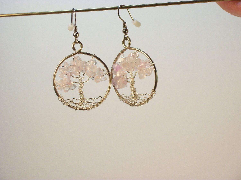 Rose Quartz Tree of Life Earrings (TLE52). $20.00, via Etsy.