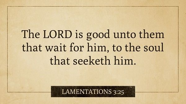 Daily Bible Verse  Lamentations 3:25 Receive the daily verse every morning in your inbox. Sign up at www.SearchTheBible.com