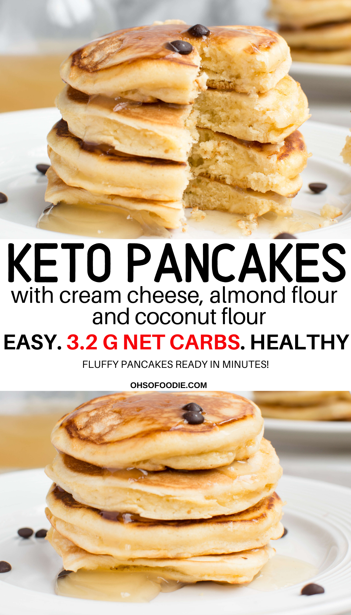 Fluffy Keto Pancakes With Cream Cheese Coconut Flour Almond Flour Recipe Coconut Flour Pancakes Cream Cheese Pancakes Keto Recipes Easy