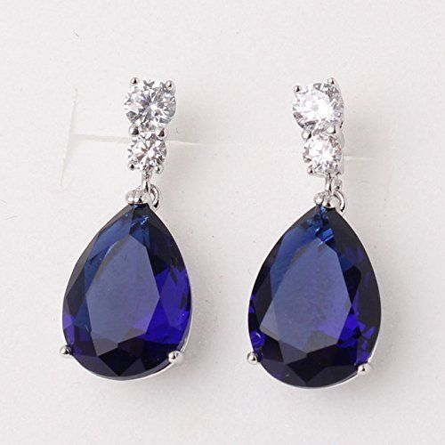 Large Blue//White Crystal Teardrop Clip on Earrings CZ White Gold Plated Dangle for Girls