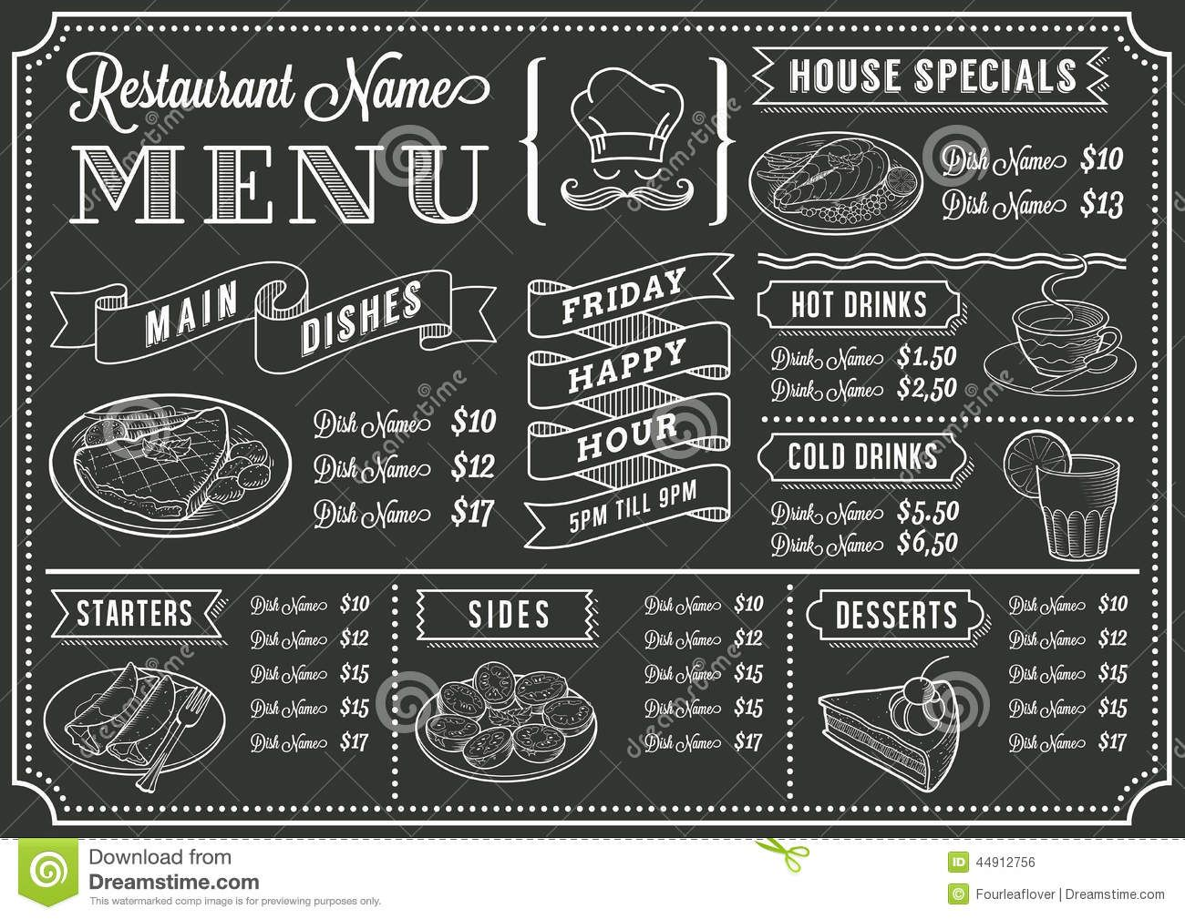 Restaurant Food Menu Design with Chalkboard Background | Classroom ...