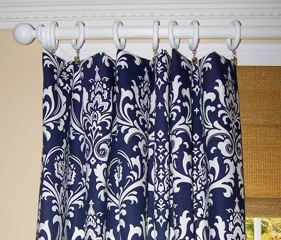 NAVY BLUE DAMASK Curtains Premier Fabric Collection Two Drapery Panels 50 X  84 White Background