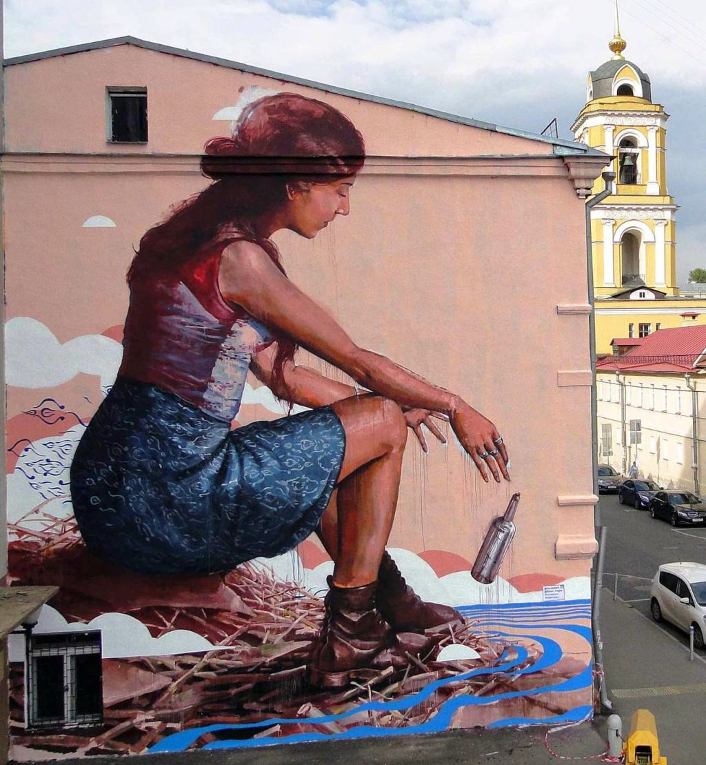 """The Messenger"" by ,Fintan Magee from Australia in Moscow, Russia for the the Most Street Art Festiva"