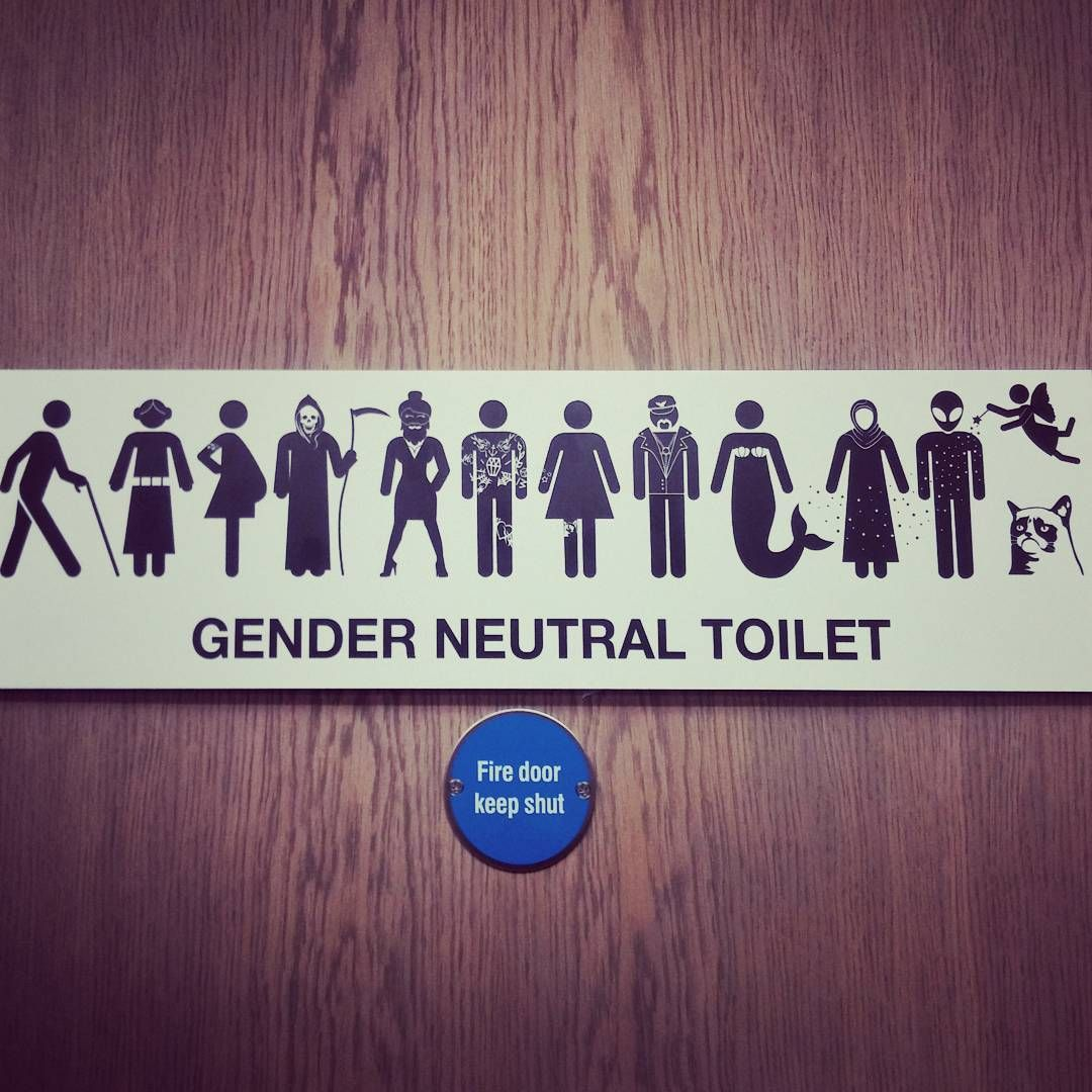 The Best Gender Neutral Toilet Sign This One Pretty Much Covers All Options Lus Gender Neutral Bathroom Signs Gender Neutral Toilets Gender Neutral Bathrooms
