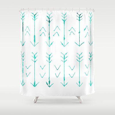 Arrow Shower Curtain Hand Drawn Arrows Teal Arrows Bathroom