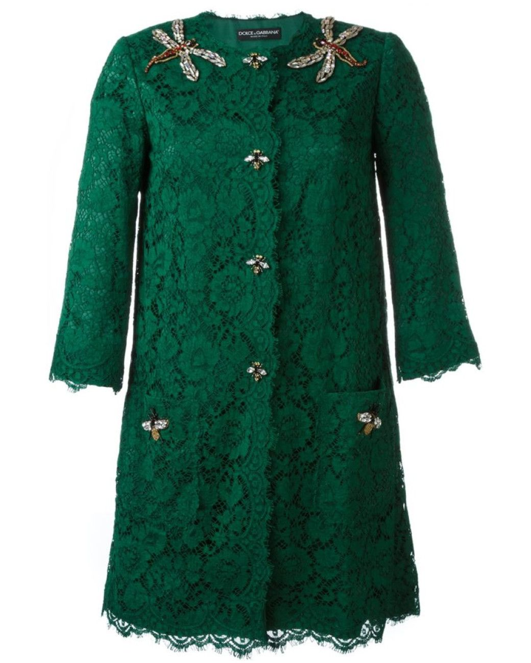 846eaf94 Dolce & Gabbana | Green Floral Lace Midi Coat | Lyst | custom | Spitze