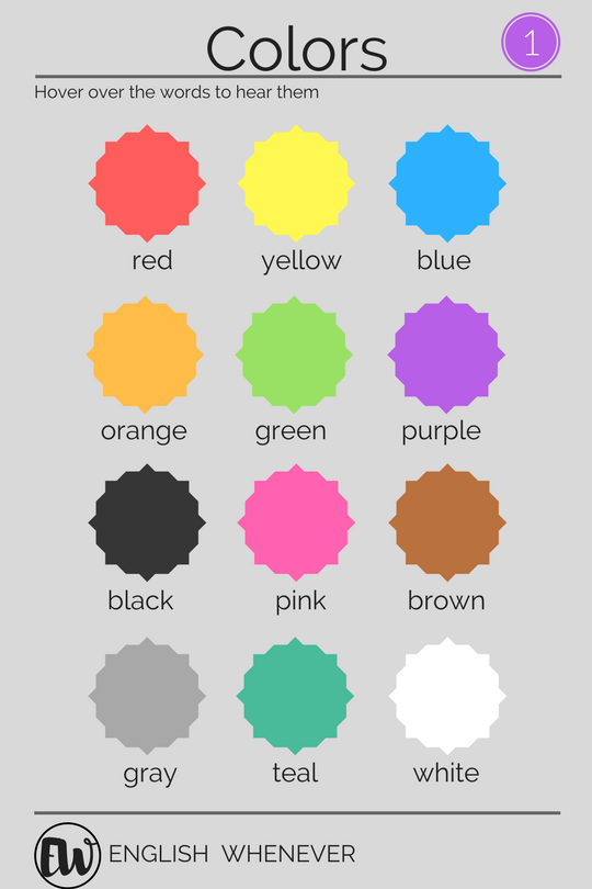 TOUCH this image Colors by English Whenever esl english