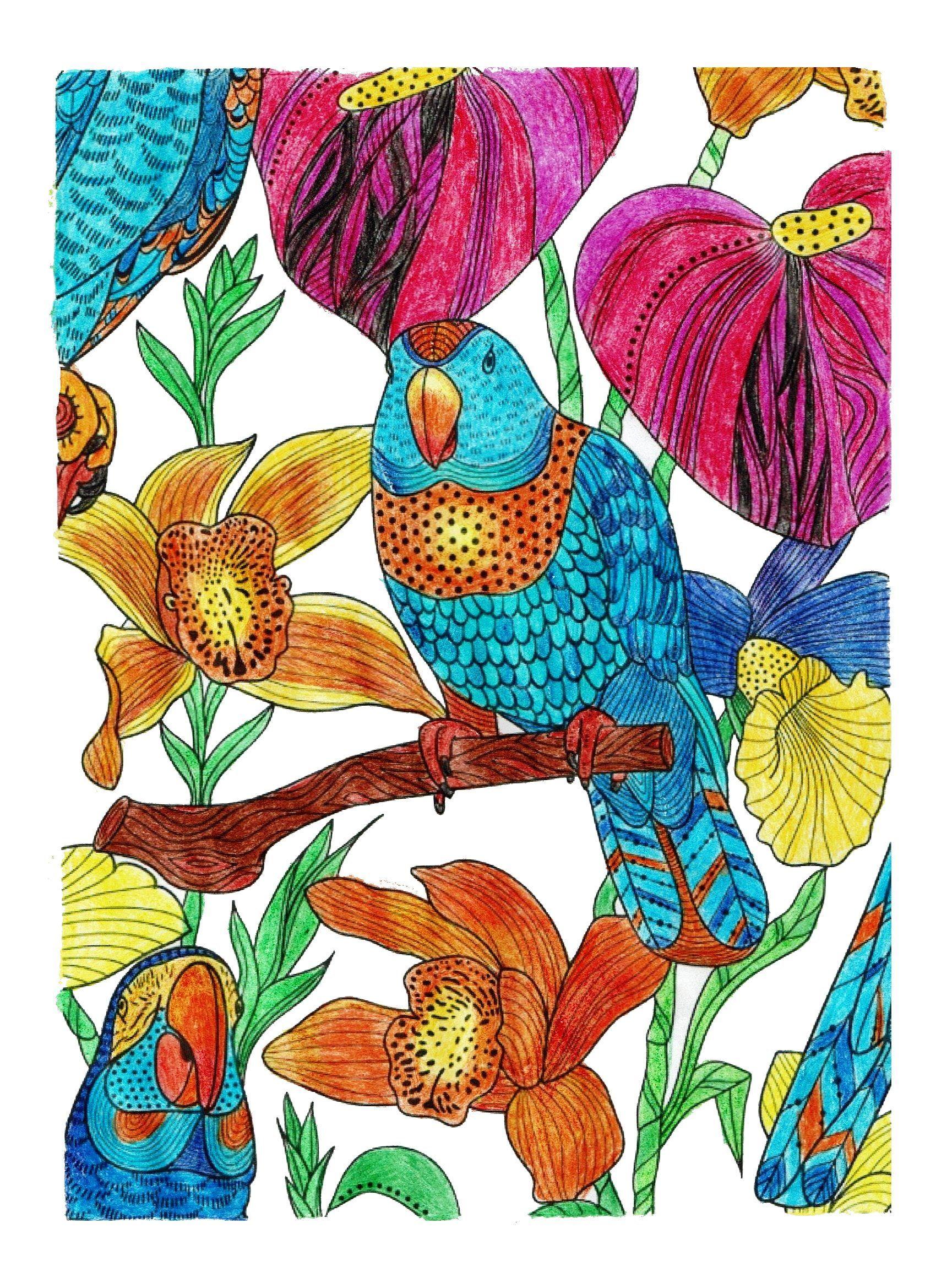 #coloringbook #coloringforadults #color #adultcoloring #colouring #coloring #milliemarotta #tropicalworld #beautifulcoloring
