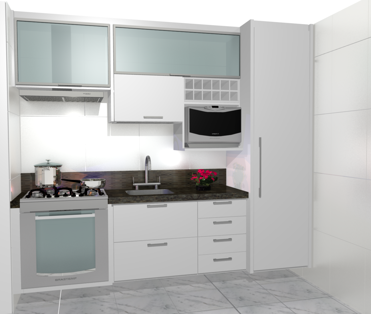 Cozinha Planejadas Pequenas Decorada Americana Modulada Luxo  ~ Armarios De Cozinha Modulado