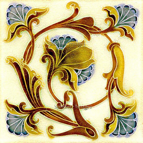 AN043 – Gloss Ceramic or Glass Tile – Vintage Art Nouveau Reproduction Tile – Floral Swirl – Various Sizes