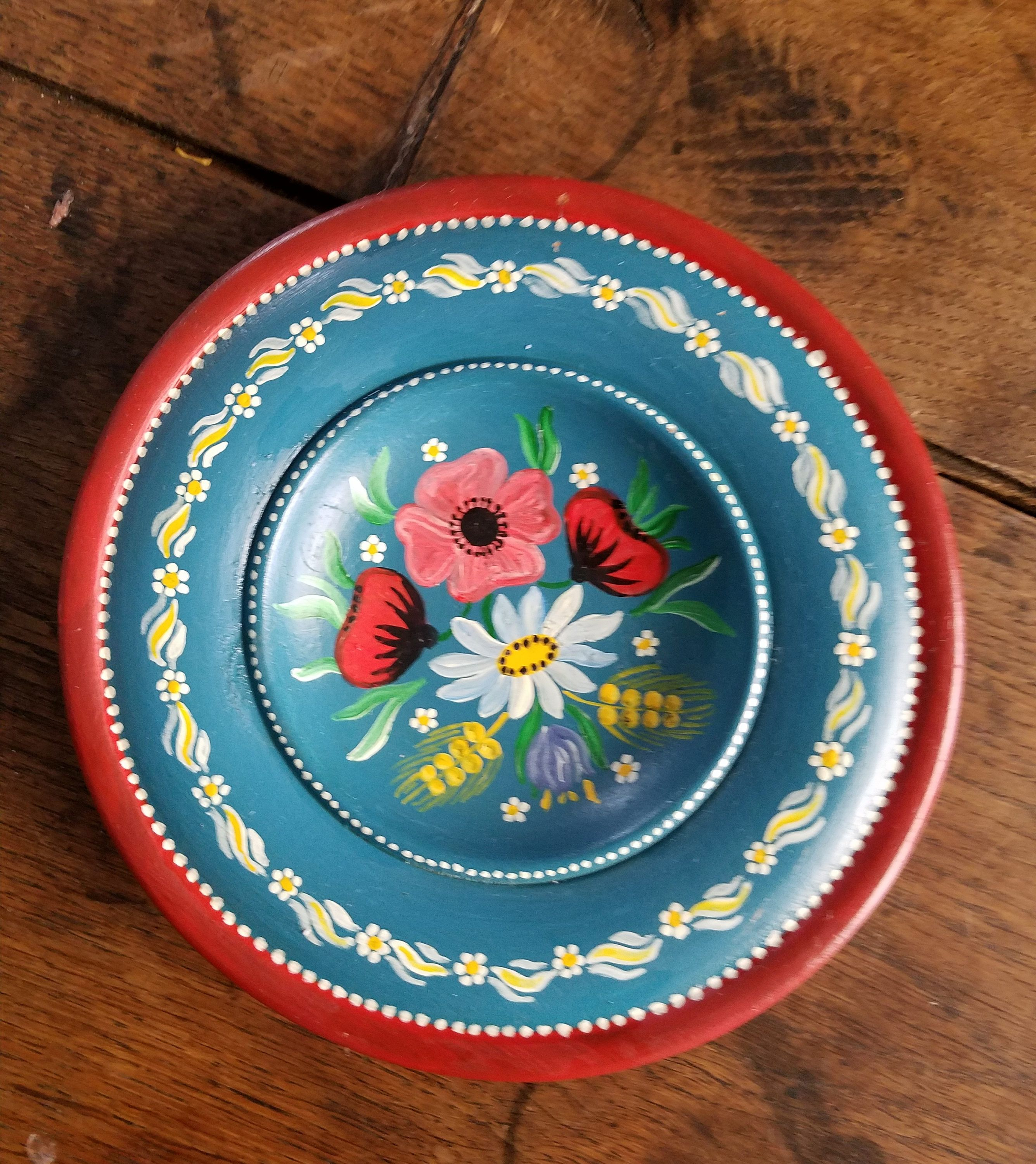 Vintage Hand Painted Old Mexico Wooden Wall Mount Decorative Plate