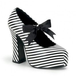 Demonia Women's Platform Court Shoes with Chunky Heel and Black & White Stripes